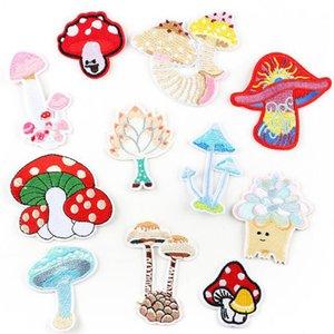 버섯 패치 의류 embroideriy 옷 스티커에 패치 자수 철의 뒷면 접착제 의류 액세서리 스틱