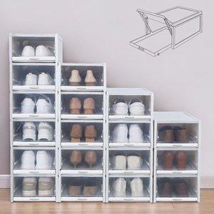 3er-Pack / Set Einfacher Convenient stapelbare Speicher Schuhkarton durchsichtiger Kunststoff Schuhe Container Cases Speicher Raum Artifact Practical