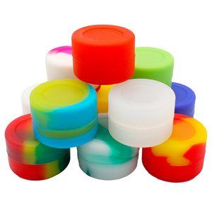 10pcs / lot 3ml mini récipient en silicone de couleur assortie pour récipients en silicone de forme ronde Dabs cire pots en silicone