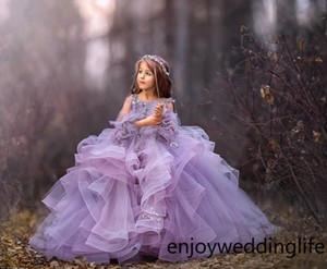 Abiti formali del partito viola a maniche lunghe Tulle principessa Abiti da sposa 2020 Layered Ruffle Beads Little Girls Pageant Abiti Girls'