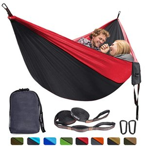 Camping Hammock Double and Single, Portable Lightweight Parachute Nylon Hammock with Tree Straps for Backpacking, Camping, Travel, Beach, Ga