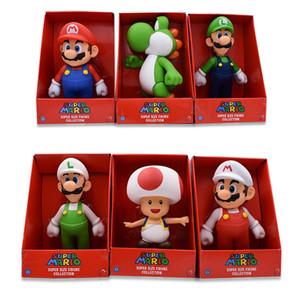 23 CM 7 Estilo Super Mario Bros Figura Yoshi Toad Pink Princess White Hat Mario Luigi Modelo Colección Figura de Acción de Juguete SH190916