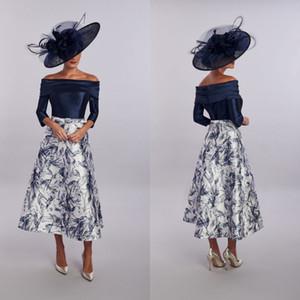 Modesto una línea de la casa de Mooshki Madre de la novia Vestido del hombro de la manga larga de la manga de la boda de la manga de la boda del hombro Vestidos de invitados de la longitud del té vestido de noche
