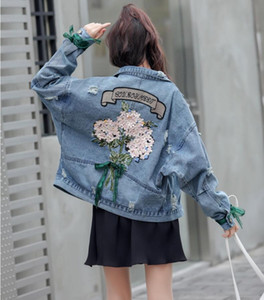 new spring womens denim jacket fashion hole Washed blue thin cowboy coat female designer denim jacket 2019 hot sale jean outwear short coats