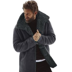 2019 Winter Autumn Cotton Blend Men's Winter Sheepskin Jacket Warm Wool Lined Mountain Faux Lamb Coat Turn-down Collar Outerwear
