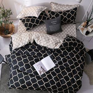 Conjuntos de ropa de cama de lujo estupendo determinado del rey funda nórdica 3pcs mármol solo trago Queen Size Negro edredón de la cama sábanas raya T200409