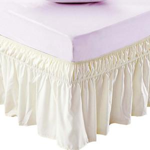 Jupe de lit d'hôtel Lit de lit beige Chemises sans surface Bande élastique Simple reine King Jupe de lit Easy On / Easy Off