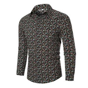 Camisas casuais casuais camisa havaiana para homens moda manga longa flor masculino floral cópia blusa homem outono preto vermelho branco