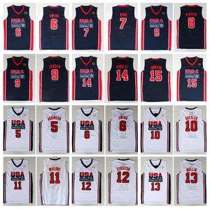 1992 Team USA Basketball Maglia Larry Bird Michael Patrick Ewing Scottie Pippen Clyde Drexler John Stockton Malone Johnson Charles Barkley