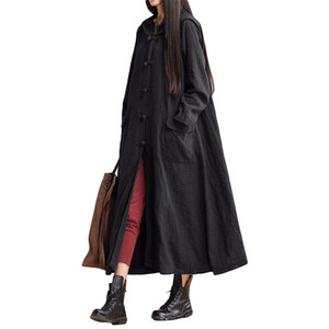 Women Vintage Loose O Neck Long Sleeve Hooded Maxi Dress Long Coat Jacket Ladies Casual Plus Size Solid Color Pockets Cardigan
