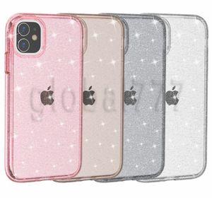 Prim Kalite Sağlam Hibrit Yumuşak TPU Sert PC Glitter Darbeye Temizle Telefon Kılıfı iPhone 11 Pro Max 11 Pro XS MAX XR 6 7 8 artı