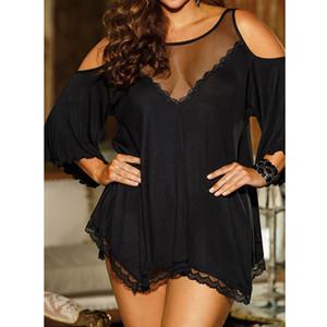 Artı boyutu kadın underwear babydoll pijama lingerie g-string set kapalı omuz dress büyük boy nuisette femme de nuit seksi