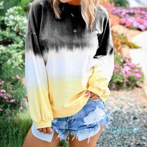 Loose Womens Hoodies Rainbow Gradient Color O Neck Long Sleeve Ladies Sweatshirts Autumn Fashion Plus Size Female Pullovers