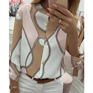 Shirt Primavera stand collare manica lunga Moda Slim Fit casuale Famale vestiti delle donne Catena Stampa