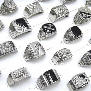Sıcak Satış 10 adet Çek Rhinestones Emaye Gümüş Kaplama Erkek Yüzükler Toptan Moda Takı