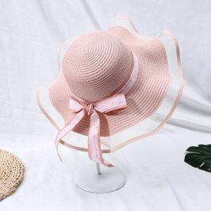 Fashion Lace Bow Summer Straw Hat Women Big Wide Brim Beach Hat Panama Ladies Cap Outdoor Sun Visor for Women gorras