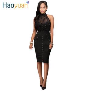 Haoyuan vestido de verão 2017 das mulheres Sexy vestidos de festa Night Club Wear Ladies Bodycon Preto Vermelho malha lápis Midi Vestido Vestidos q1110