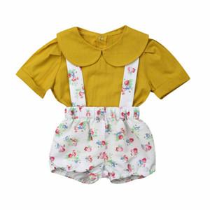 Collar 1-4years verano cabritos del niño de la niña de la muñeca camiseta + pantalones cortos de los guardapolvos floral Suspender Conjuntos de ropa