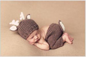 귀여운 아기의 사진 의류 사진 0-6M 아기의 크리스마스 테마 엘크 모양 의상 카키색 원사 크리스마스 의상