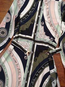Moda-Milan Pist Elbise 2019 Yeni çevirin Aşağı Yaka Uzun Kollu% 100 İpek vestidos de Festa Tasarımcı Çizgili Kadın Elbise 817882