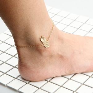 Fashion Golden 3D Pineapple Fruit Pendant Anklets Lovely Metal Alloy Friendship Bracelet Golden Foot Chain Women Men Designer Jewelry
