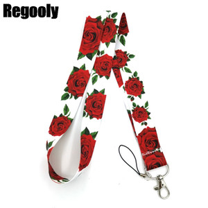Rose flowers Neck Strap Lanyard keychain Mobile Phone Strap ID Badge Holder Rope Key Chain Keyrings cosplay Accessories Gifts