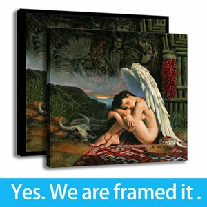 Bedroom Decor Canvas HD Print Angel Girl Painting Michael Cheval Art Framed Art - Ready To Hang - Support Customization