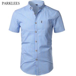 Small Plaid Shirt Men Summer New Short Sleeve Cotton Mens Dress Shirts Casual Button Down Chemise Homme Camisa Masculina Xxxl MX190719