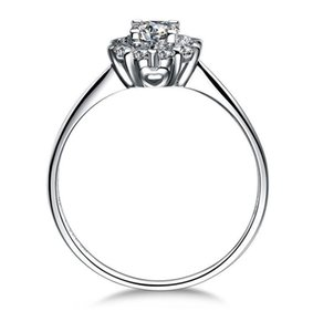 2018 100% 925 prata de silversterling 14k branco banhado a ouro 1ct Princess Cut SONA Simulado diamante Anéis de noivado para mulheres, prata fina