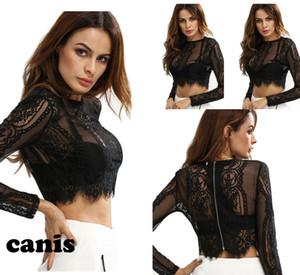 Женщины Черное Кружево Сексуальная Рубашка Растениеводство Топы С Длинным Рукавом Блузка Party Club Короткие Топы
