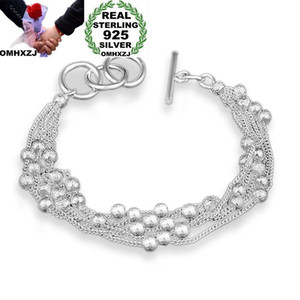 OMHXZJ Wholesale Personality Fashion Woman Gift Silver Beads Thin Chain 925 Sterling Silver Bracelet+Necklace Jewelry Set SE50