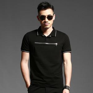 Camicia PolO T-shirt in cotone con zip e mercerizzato europea e americana Uomo T-shirt mezza manica in cotone e lycra 180gm2 6620