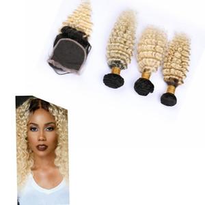 """Ombre indio de la armadura del pelo con el encierro 4"""" * 4"""" # 1B / # 613 de la onda profunda Ombre pelo humano de la Virgen de lotes"""
