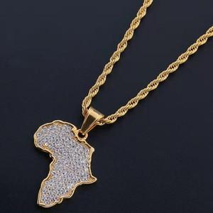 fuera helado África collares pendiente del mapa para hombre del diseñador hombres de lujo del diamante de Bling Mapa de África colgantes de cadena de oro regalo de amor collar de la joyería
