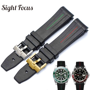 Curved 20mm 21mm Watch Strap for  Black Water Ghost Rubber Watchband  GMT Strap Male Bracelets Relogio Masculino