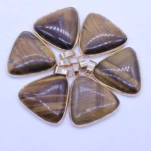 Wholesale 10 pcs Gold Plated Triangle Tiger Eye Stone Pendant for Gift Green Aventurine Charm Jewelry