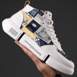 Herrenschuhe echtes Leder 2019 Männer Designer Chunky Sneakers Mode-Mann-beiläufige Schuh-hohe Plattform-Turnschuhe Big Size 47 L30