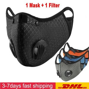 DHL navire Designer Masque Visage Cyclisme Activated Carbon avec filtre anti-pollution PM2.5 Sport Courir Formation VTT Route Masque Protection vélo