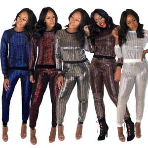 Женские наборы из двух частей Женские брюки из двух частей блестки брюки верхняя одежда мода горячий пуловер наряды осень весна