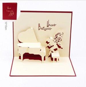 Музыка для фортепиано ангела Бумажного Carving 3D карта масштабируемых дети подарочных карт для взрослых универсальной ручной творческой полых поздравительной открытки благословения