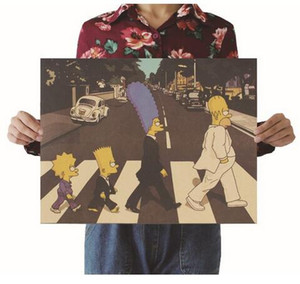 The Simpsons Cross Street Vintage Carta Kraft Film Poster Mappa Home Decor Arte Retro Poster e stampe Decorazioni