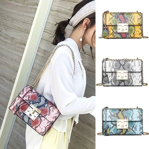 Vintage Style Snake Skin Printing Square Bags Women Serpentine Messenger Single Shoulder Female Handle Bag 35 35