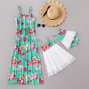 2020 Lámina floral de verano Off-Shlouder Vestidos a juego con trajes a juego Mamá y su hija