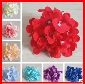 2019 Branche Fleurs artificielles de soirée de mariage grande Hydrangea Bouquet unique en tissu de soie artificielle Faux Floral Fleurs Plantes Fleurs séchées