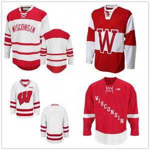 Пользовательские NCAA для мужчин Висконсин Барсуки Кардинал колледж Красный Белый Hockey Трикотажные Красный Белый прошитой Logos любое имя и номер Customized