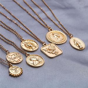 Mujer repujado collar de plata del ángel de oro Grabado Rose Reina joyería colgantes del collar de la moneda de oro collares de la manera Envío de la gota