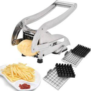 Fry Cutter francés con 2 cuchillas Cortador de la cortadora de la patata del acero inoxidable Chopper Potato Chipper para la zanahoria del pepino Herramientas vegetales de la cocina