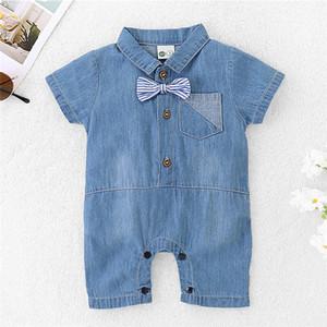 Denim Bebek Giyim ile Bow-düğüm Moda Bebek Rompers Bebek Boy Jumpsuit Kıyafetler Sevimli Yaz Elbise Yeni Doğan Bebek Giyim