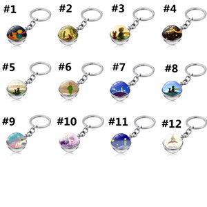 Klasik Masal Anahtarlık kolye Çocuk Kadınlar Hediye HHA1189 Asma Cam Topu Küçük Prens Anahtarlık Çanta Araba Keys çift taraflı