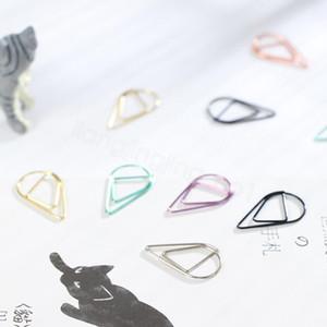 Forma a goccia Paper Clips Metallo Materiale Oro Argento Colore divertente Kawaii dell'ufficio del segnalibro Shool cancelleria Marcatura clip 10pz FFA3145 /